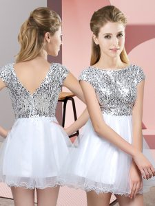 Tulle Cap Sleeves Mini Length Quinceanera Court of Honor Dress and Sequins