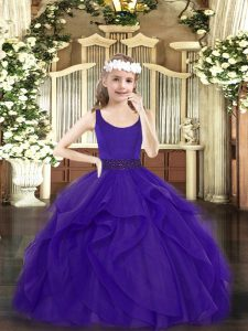 Purple Sleeveless Tulle Zipper Pageant Dress for Womens for Party and Quinceanera
