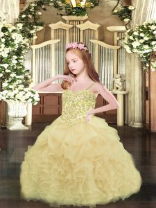 Champagne Organza Lace Up Winning Pageant Gowns Sleeveless Asymmetrical Appliques and Ruffles and Pick Ups