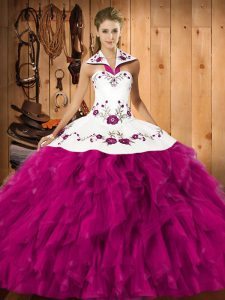 Flare Fuchsia Sleeveless Satin and Organza Lace Up Sweet 16 Quinceanera Dress for Military Ball and Sweet 16 and Quinceanera