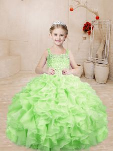 Excellent Sleeveless Beading and Ruffles Lace Up Pageant Gowns
