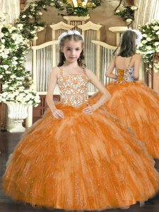 Orange Sleeveless Organza Lace Up Pageant Dress for Teens for Party and Sweet 16 and Quinceanera and Wedding Party