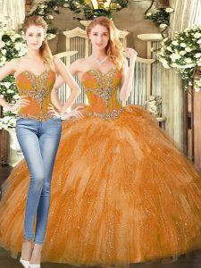 Orange Red Organza Lace Up Sweetheart Sleeveless Floor Length Sweet 16 Dresses Beading and Ruffles
