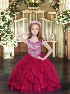 Fashionable Sleeveless Beading and Ruffles Lace Up Custom Made Pageant Dress