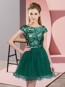 Dramatic Cap Sleeves Mini Length Sequins Zipper Quinceanera Dama Dress with Turquoise