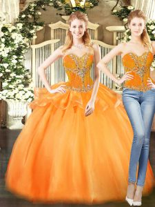Excellent Orange Red Lace Up Sweet 16 Quinceanera Dress Beading and Ruffles Sleeveless Floor Length