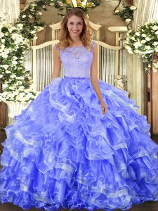 Blue Scoop Clasp Handle Lace and Ruffled Layers 15 Quinceanera Dress Sleeveless