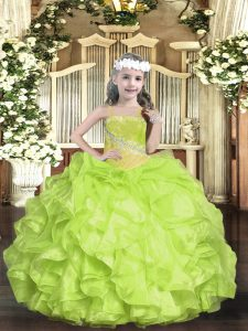 Customized Floor Length Yellow Green Pageant Dress for Womens Straps Sleeveless Lace Up