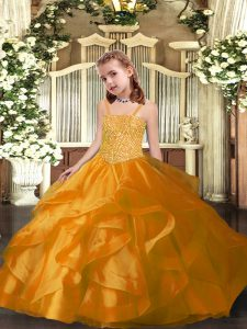 Elegant Ball Gowns High School Pageant Dress Orange Straps Organza Sleeveless Floor Length Lace Up
