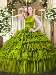 Olive Green Scoop Clasp Handle Ruffled Layers Quinceanera Gown Sleeveless