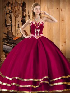 Wine Red Organza Lace Up Sweet 16 Dresses Sleeveless Floor Length Embroidery and Ruffles