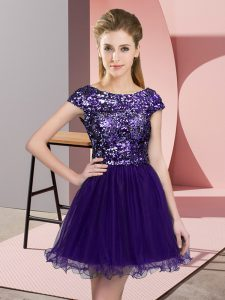 Cap Sleeves Mini Length Sequins Zipper Dama Dress for Quinceanera with Purple