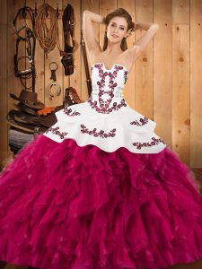 High Class Fuchsia Ball Gown Prom Dress Military Ball and Sweet 16 and Quinceanera with Embroidery and Ruffles Strapless Sleeveless Lace Up