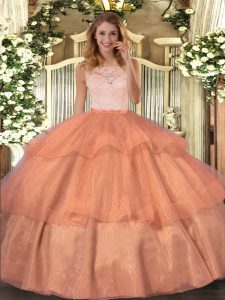 Ball Gowns Sweet 16 Dresses Orange Scoop Organza Sleeveless Floor Length Clasp Handle