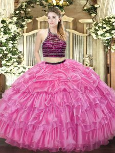 Vintage Sleeveless Beading and Ruffled Layers Zipper Ball Gown Prom Dress