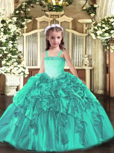 Gorgeous Organza Sleeveless Floor Length Pageant Dress for Girls and Appliques and Ruffles