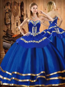 Fantastic Floor Length Blue Quinceanera Dress Organza Sleeveless Embroidery