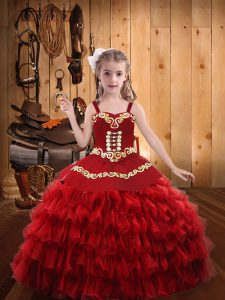 Enchanting Straps Sleeveless Lace Up Pageant Dress Wholesale Red Organza