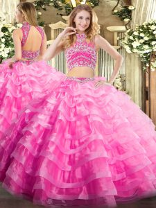 Latest Sleeveless Beading and Ruffled Layers Backless Quince Ball Gowns