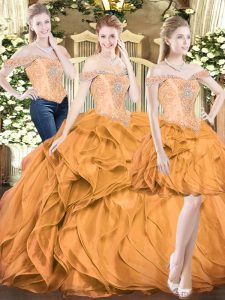 Orange Red Ball Gowns Beading and Ruffles Sweet 16 Quinceanera Dress Lace Up Organza Sleeveless Floor Length