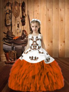 Hot Selling Straps Sleeveless Pageant Dress for Teens Floor Length Embroidery and Ruffles Orange Red Organza
