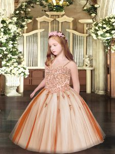 Sleeveless Lace Up Floor Length Appliques Pageant Dress for Girls