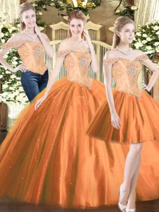Free and Easy Orange Red Lace Up Quince Ball Gowns Beading Sleeveless Floor Length