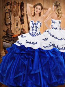 Customized Sleeveless Lace Up Floor Length Embroidery and Ruffles Quinceanera Dresses