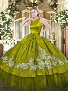 Olive Green Sleeveless Embroidery Floor Length Quinceanera Gown