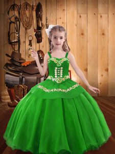 Green Pageant Dresses Sweet 16 and Quinceanera with Embroidery Straps Sleeveless Lace Up