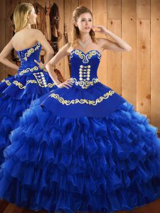 Fancy Blue Ball Gowns Satin and Organza Sweetheart Sleeveless Embroidery and Ruffled Layers Floor Length Lace Up 15th Birthday Dress
