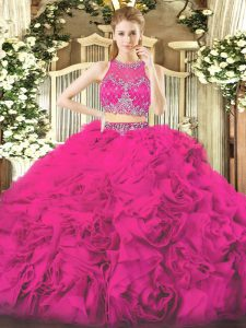 Fuchsia 15th Birthday Dress Military Ball and Sweet 16 and Quinceanera and Beach with Beading Scoop Sleeveless Zipper