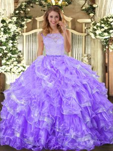 Ball Gowns Sweet 16 Dress Lavender Scoop Organza Sleeveless Floor Length Clasp Handle