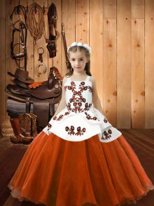 Best Organza and Tulle Sleeveless Floor Length Custom Made Pageant Dress and Embroidery
