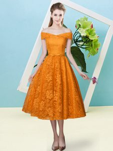 Customized Off The Shoulder Cap Sleeves Lace Up Quinceanera Court of Honor Dress Orange Red Lace