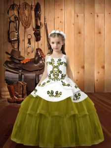 Latest Olive Green Straps Lace Up Embroidery Pageant Dress for Teens Sleeveless