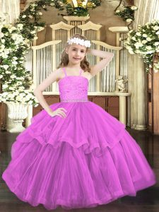 Beading and Lace Pageant Dress Lilac Zipper Sleeveless Floor Length