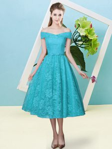 Cap Sleeves Tea Length Bowknot Lace Up Court Dresses for Sweet 16 with Teal