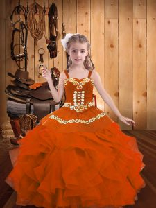 Amazing Orange Red Straps Lace Up Embroidery and Ruffles Pageant Dresses Sleeveless