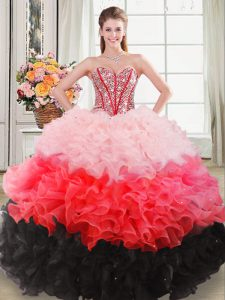 Multi-color Ball Gowns Beading and Ruffles Quinceanera Dresses Lace Up Organza Sleeveless Floor Length