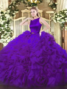 Stylish Purple Sleeveless Fabric With Rolling Flowers Clasp Handle Quinceanera Gown for Military Ball and Sweet 16 and Quinceanera