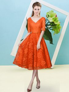 Nice Half Sleeves Lace Tea Length Lace Up Damas Dress in Orange Red with Bowknot