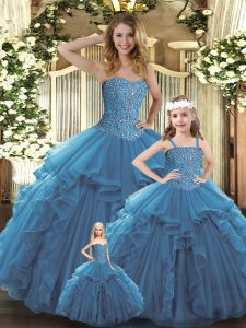 Smart Teal Ball Gowns Sweetheart Sleeveless Organza Floor Length Lace Up Beading and Ruffles Vestidos de Quinceanera