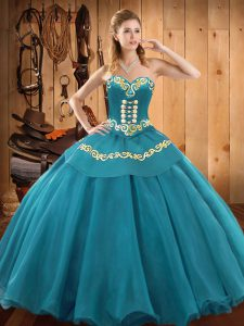 Tulle Sweetheart Sleeveless Lace Up Embroidery Sweet 16 Dresses in Teal