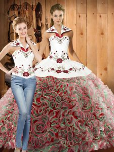 Halter Top Sleeveless 15 Quinceanera Dress Sweep Train Embroidery Multi-color Fabric With Rolling Flowers