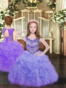 Trendy Lavender Pageant Dress Toddler Party and Quinceanera with Beading and Ruffles and Pick Ups Scoop Sleeveless Lace Up