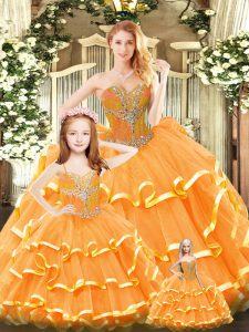 Custom Fit Floor Length Lace Up Quince Ball Gowns Orange Red for Military Ball and Sweet 16 and Quinceanera with Beading and Ruffled Layers