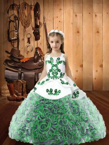 Pretty Fabric With Rolling Flowers Sleeveless Floor Length Pageant Gowns and Embroidery and Ruffles