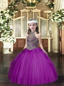 Purple Ball Gowns Halter Top Sleeveless Tulle Floor Length Lace Up Beading and Ruffles High School Pageant Dress