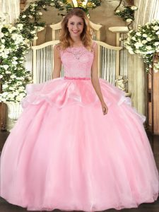 Stylish Floor Length Pink Sweet 16 Dress Organza Sleeveless Lace
